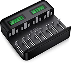 EBL Chargeur de Piles Rapide LCD, Chargeur Universel pour AA/LR6, AAA/LR3, C/R14, D/R20 Ni-MH Piles Rechargeables avec Entrée Type C Micro USB, Chargeur avec Technologie Détection de Piles