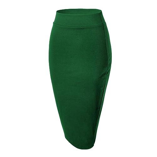 311b03134a80 Urban GoCo Women's Knee Length Stretch Pencil Skirt (M, Emerald Green)