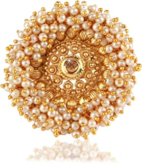 Yellow Chimes Moti - Kundan Traditional Gold Plated Ring for Women (White and Golden)(YCTJRG-06MTI-GL)