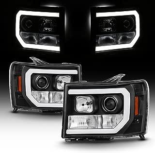 For 2007-2014 GMC Sierra 1500 2500 3500 LED [C-Tube Bar] Black Projector Headlight Driver Left + Passenger Rligh Pair
