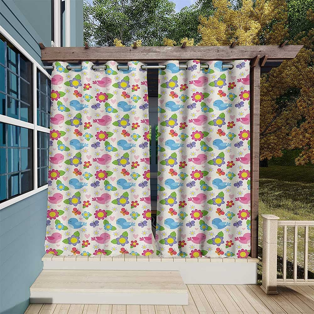 Fees free Baby supreme Outdoor Curtains Weighted Birds Heart Butterf Flowers and