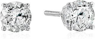 Certified Brilliant-Cut Diamond Classic 4-Prong Screw Back Stud Earrings in 14K White or Yellow Gold (Color J-K, Clarity I2) - Choice of Carat Weights