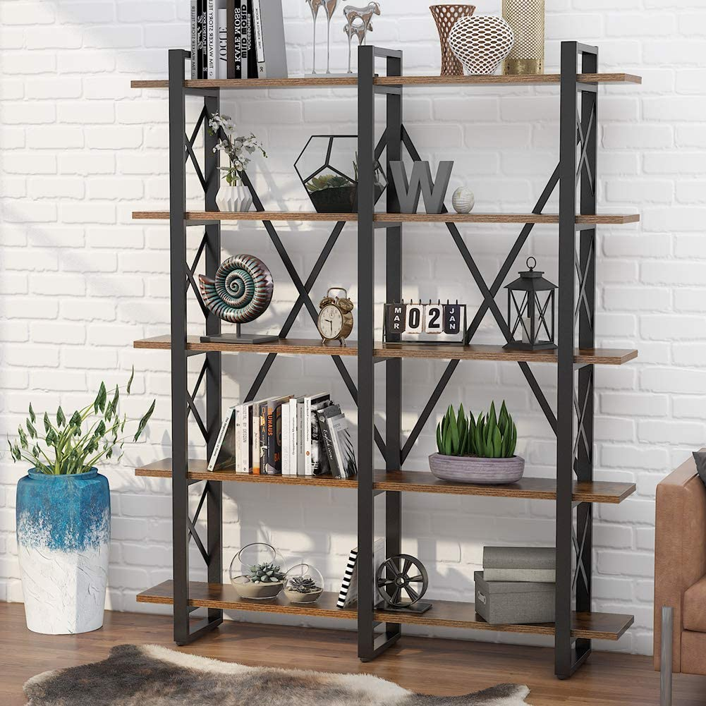 Buy Tribesigns Double Wide 20 Shelf Bookcase, Etagere Large Open ...