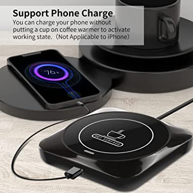 USB Coffee Mug Warmer: Candle Wax Warmer Smart Electric Cup Warmer Charge for Phone Home Desk Office Use Beverage Heating Pla