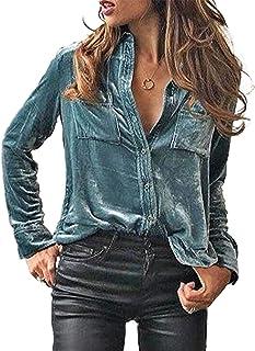 GOSOPIN Long Sleeve Distressed Denim Shirt Jean Dress Button Down Tunic Top