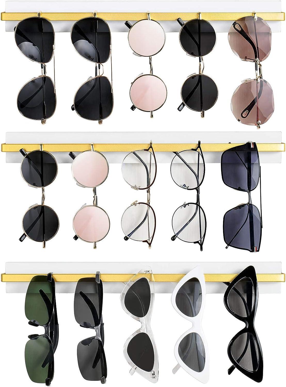 Mkono Wall Mounted Sunglasses Storage Organizer Wood Modern Simple Eyeglasses Display Holder Eyewear Glasses Hanging Rack for Entryway Living Room Bedroom, 3 Pack, White