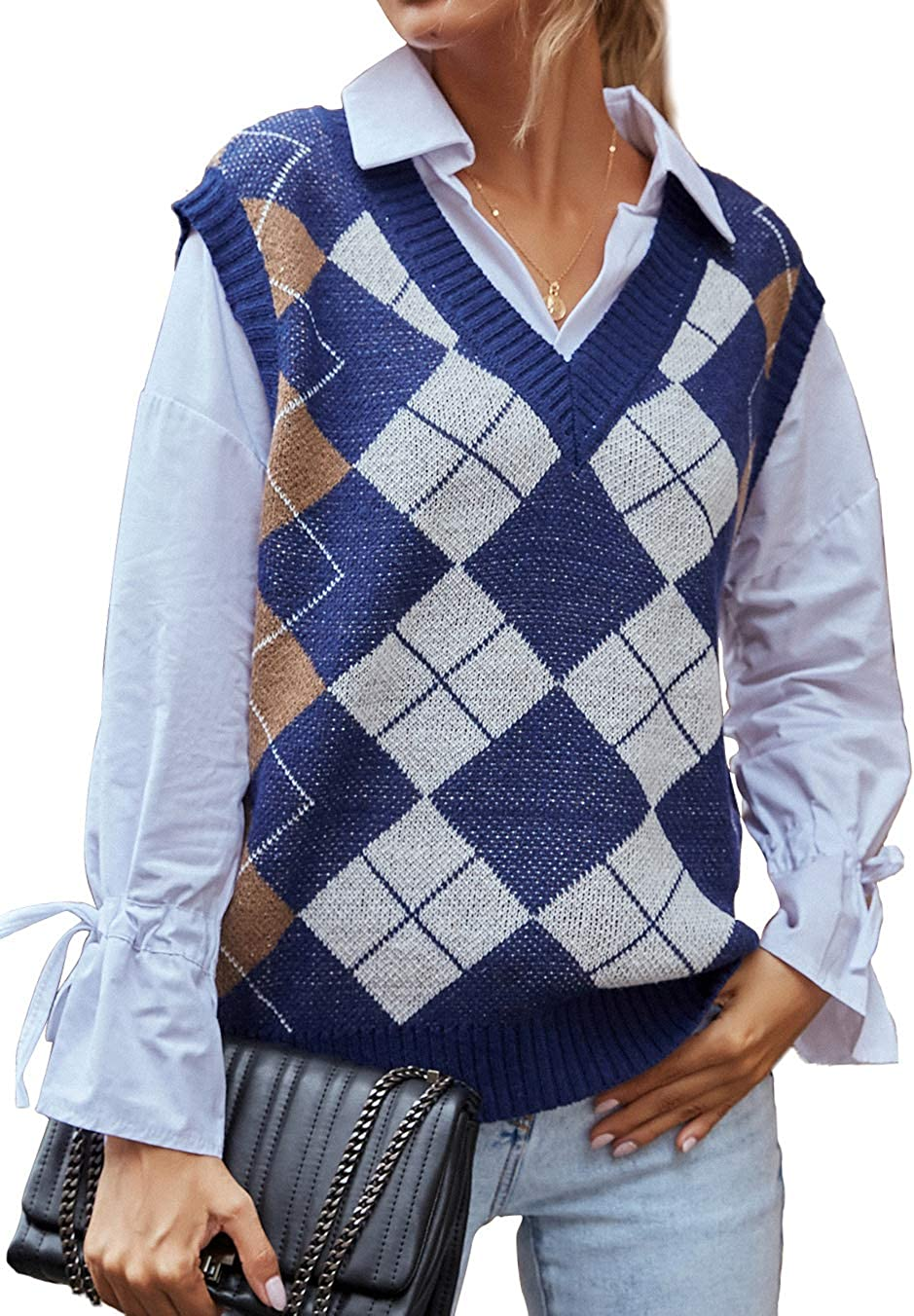 Sofkiny Womens V-Neck Argyle Knitted Sleeveless Sweater Vest Checked Jumper Pullover Tank Top