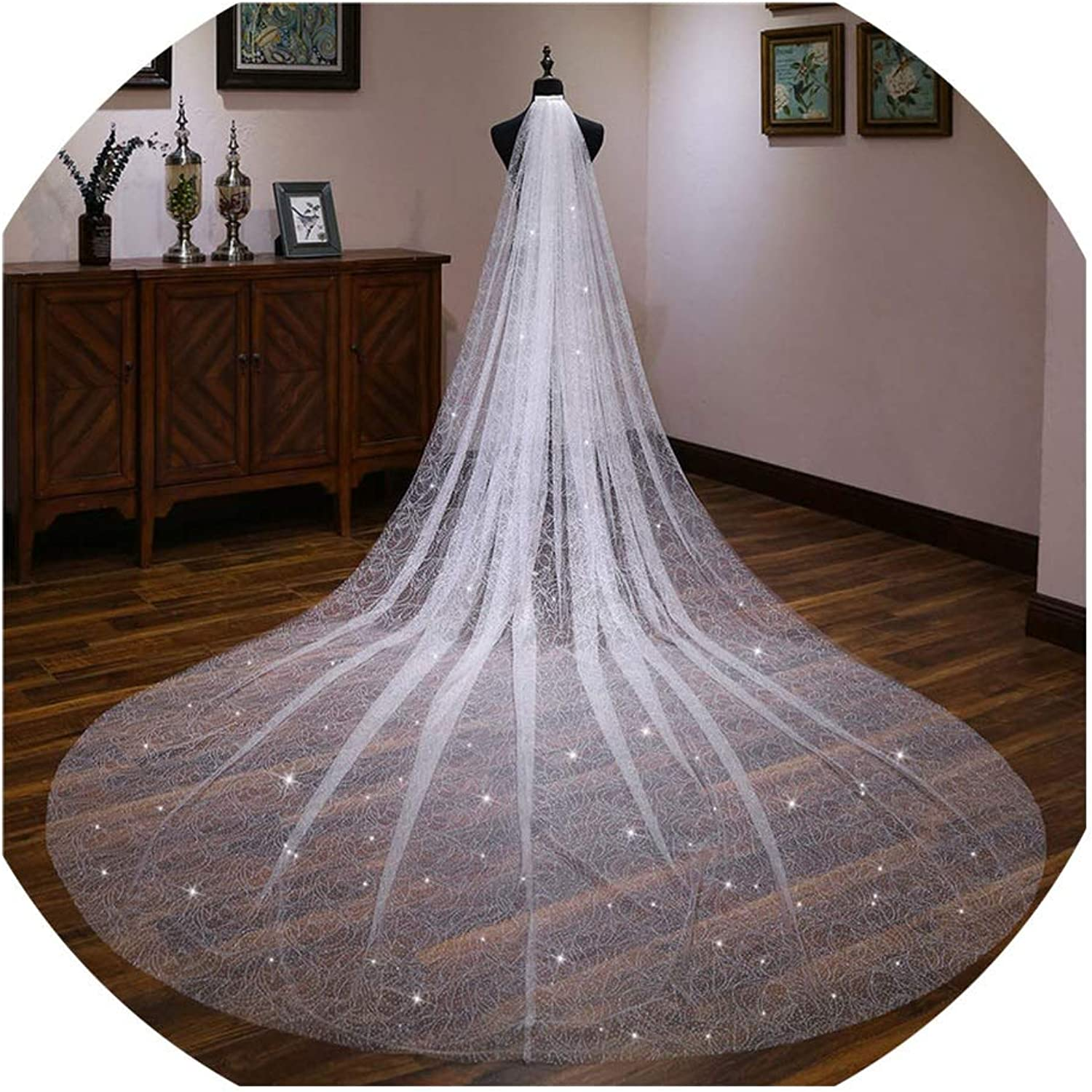 Bling Bling Sequins Long Bridal Veil Cathedral Veil ivory Long Bridal Wedding Accessories Hair Accessories With Comb,Ivory,300cm