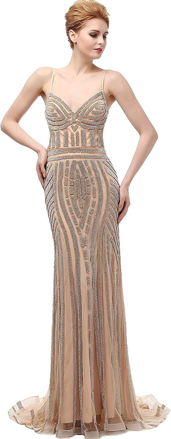 Belle House Women's Beads Sheer Neck Mermaid Evening Dress Pageant Gown HLX029