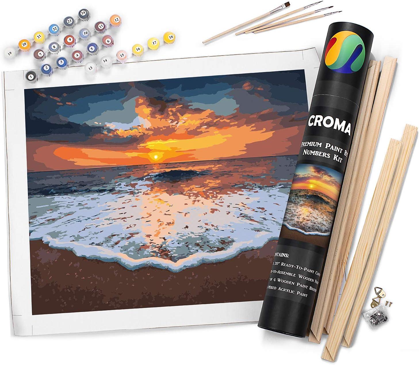 Wholesale Croma Premium Luxury goods Paint by Numbers Adult Advanced Sunset Beach Kit