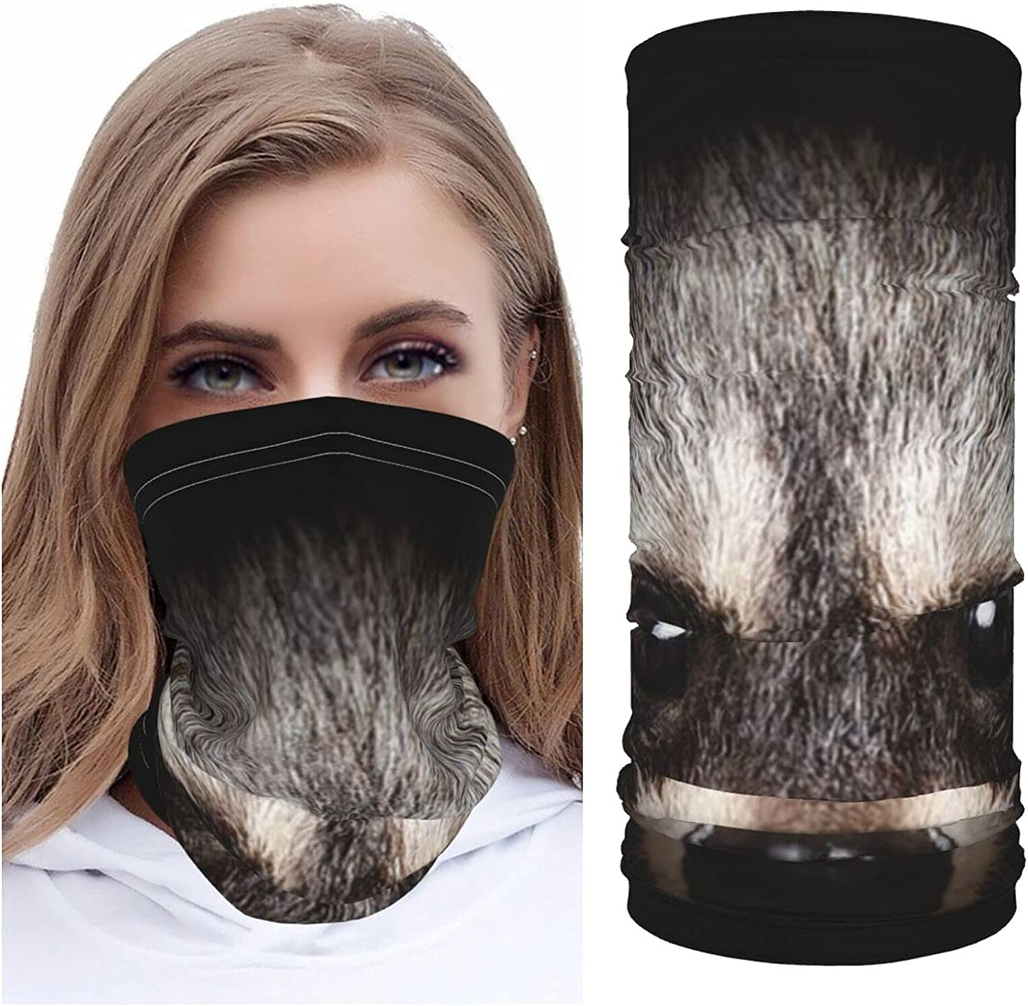 Portrait Cunning Raccoon Close Up Black Animal Wildlife Nature Summer Ice Silk Breathable Face Mask Neck Gaiter Scarf Bandanas for Fishing,Hiking,Running,Motorcycle and Daily Wear