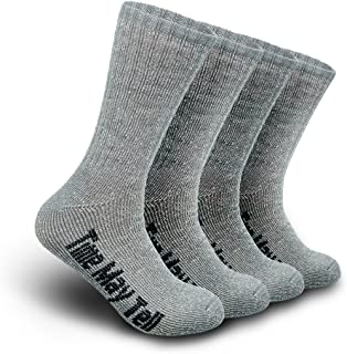 Time May Tell Mens Merino Wool Hiking Cushion Socks Pack (2/4 Pair,6-13 Size)