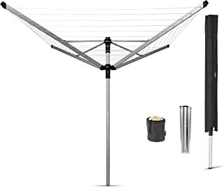 Brabantia Lift-O-Matic Rotary Clothes Airer with Metal Ground Spike, Peg Bag and Protective Cover - 50 m Soil Spear by Brabantia