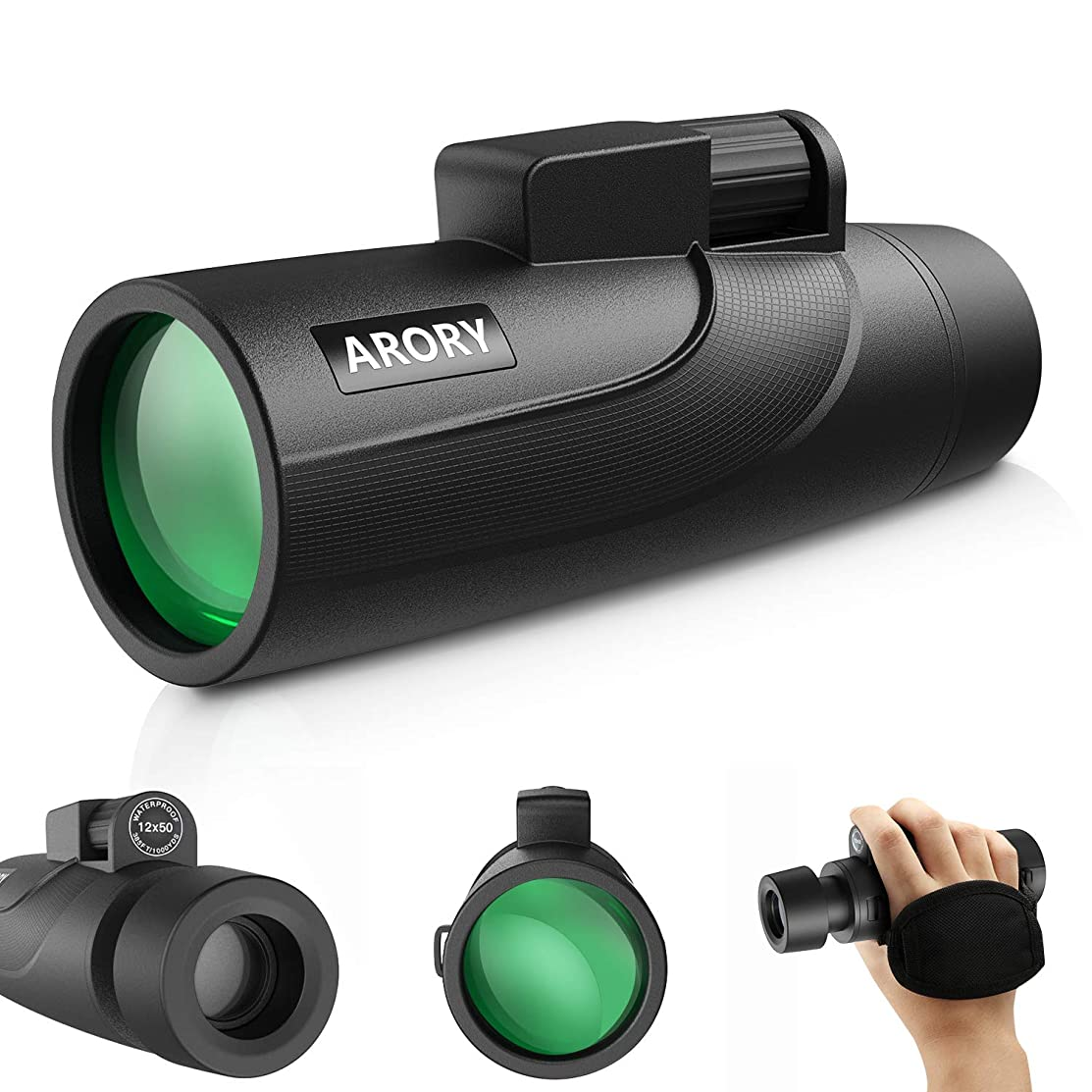 Monocular Telescope 12X50 High Power,ARORY HD Lightweight Monocular(0.58LB),Compact Zomm Monocular Scope,BAK4 Prism Fully Coated Optical Lens Single Hand Focus, Great for Camping/Travel/Outdoor Sports