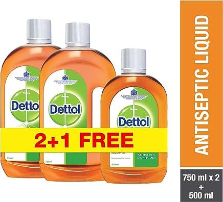 Dettol Antiseptic Disinfectant Liquid - Pack of 3 Pieces (2 x 750ml + 500ml)