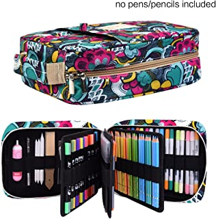 Pencil Case Holder Slot -Holds 202 Colored Pencils or 136 Gel Pens with Zipper Closure - Large Capacity Pen Organizer for Watercolor Pens or Markers - Perfect Gift for Beginner and Artist Blossom
