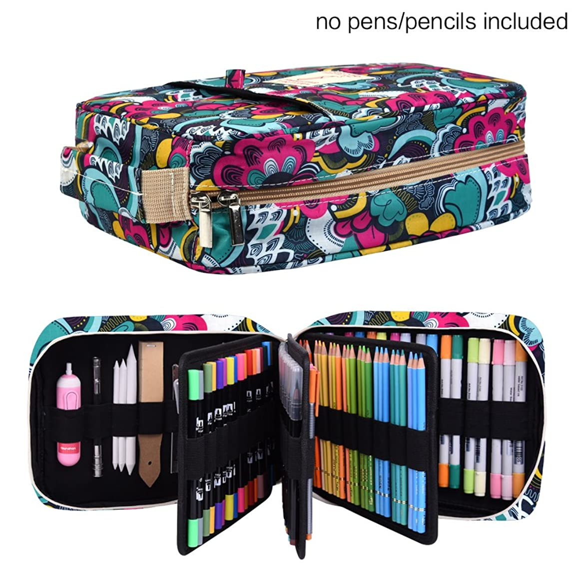 Pencil Case Holder Slot -?Holds 202 Colored Pencils or 136 Gel Pens with Zipper Closure - Large Capacity Pen Organizer for Watercolor Pens & Markers | Perfect Gift for Beginner & Artist Blossom