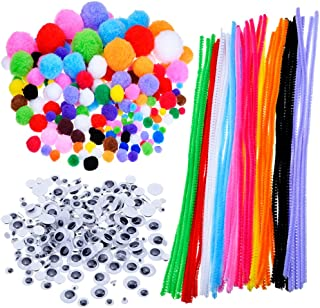 Pompoms, Self-sticking Wiggle Googly Eyes, Chenille Stems for Craft DIY Art Supplies, 450 Pieces