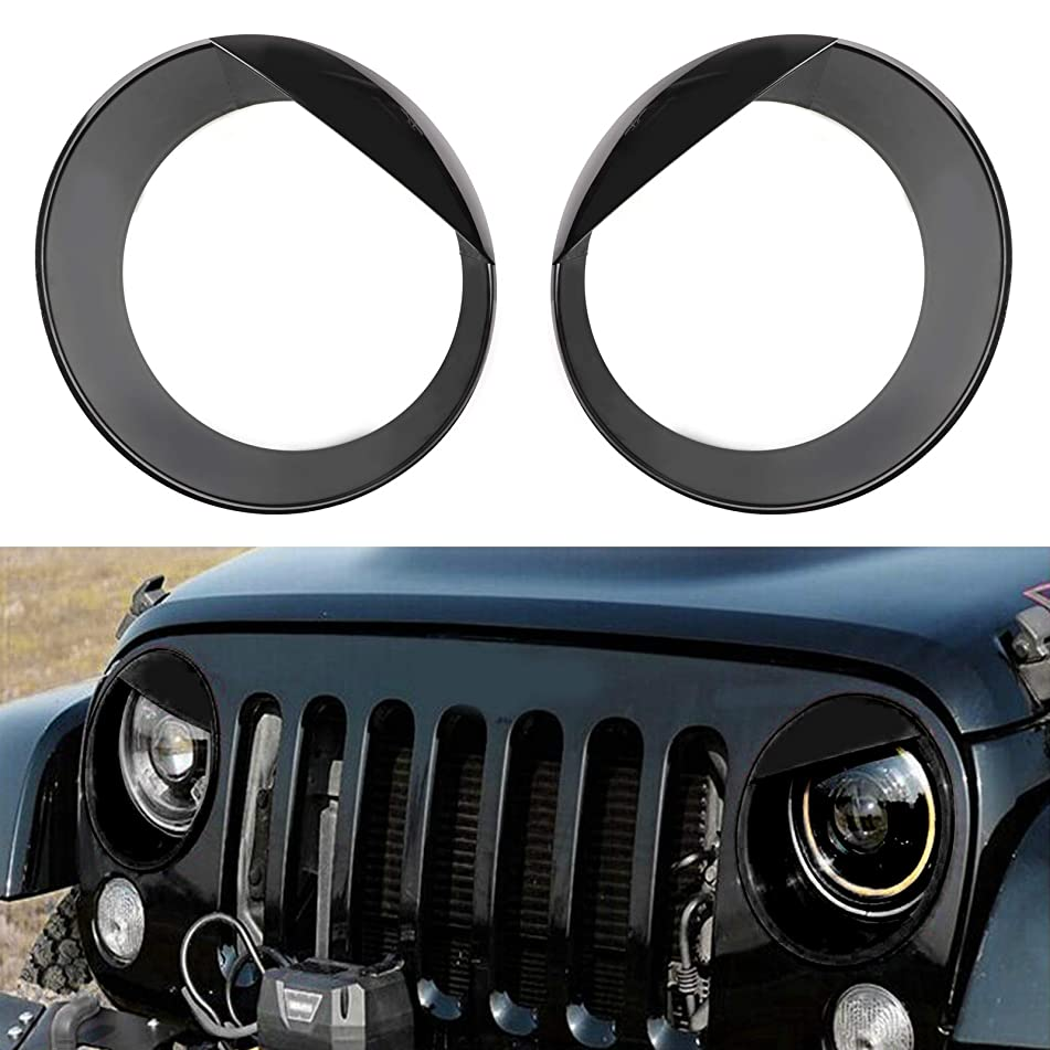 Artudatech 2PCS Bezels Front Light Headlight Covers Angry Eyes For Jeep Wrangler Sport JL 2018