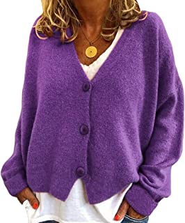 Womens Solid Color Cardigan Long Sleeve Button Down Casual Knitted Sweaters Coat
