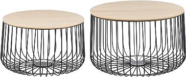[en.casa] Lot de 2 Tables Basses Design Tables de Salon de Tailles Différentes Paniers à Plateaux Amovibles Métal MDF Noir Ch