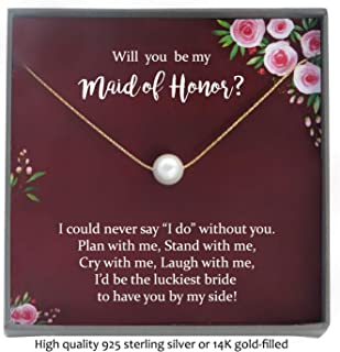 Maid of Honor Proposal Gift Necklace with Meaningful Message, Floating Pearl