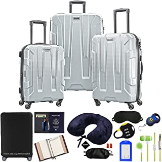 Samsonite 102691-1776 Centric 3pc Nested Hardside 20/24/28 Luggage Set - Silver Bundle w/Luggage Accessory Kit (10 Item)