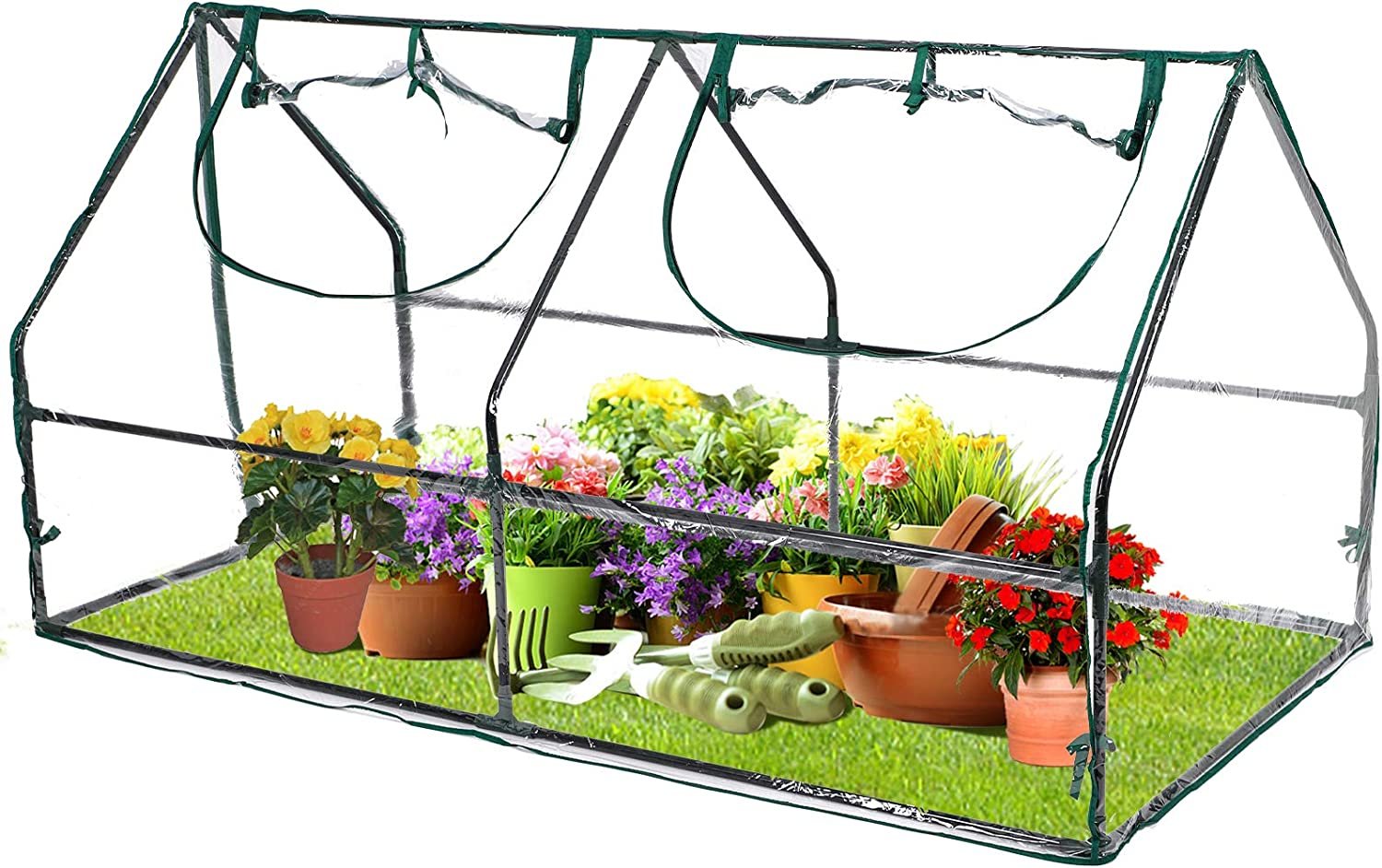 Portable Mini Greenhouse for Raised Garden Bed, 6.0' x 3.0' x 3.0' Mini Clear Green House for Indoor Outdoor with PE Cover and Roll-Up Zipper Door for Seedling, Flowers, Plant Growing