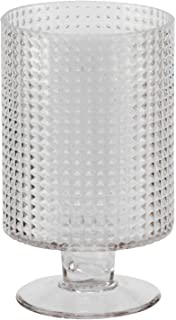 Biedermann & Sons Decorative Glass Pedestal Based Hurricane Candle Holder, Small, Diamond