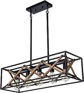 XIPUDA Kitchen Island Pendant Light Fixture Farmhouse Chandeliers Lighting, Pool Table Linear Lights, Wood Metal Frame Hanging Light for Dinning Room (5-Light)