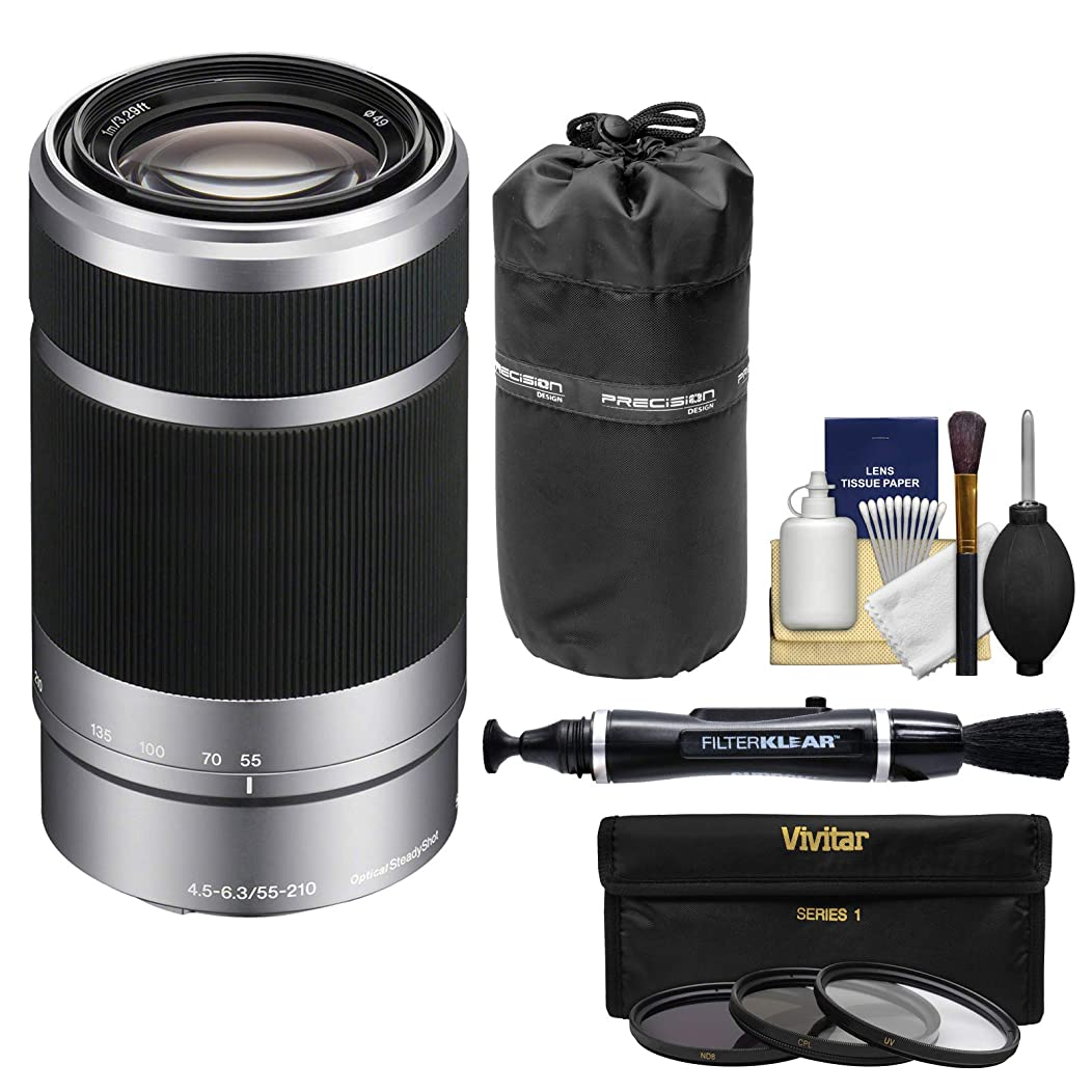 Sony Alpha E-Mount 55-210mm f/4.5-6.3 OSS Zoom Lens (Silver) with UV/CPL/ND8 Filters + Pouch + Kit