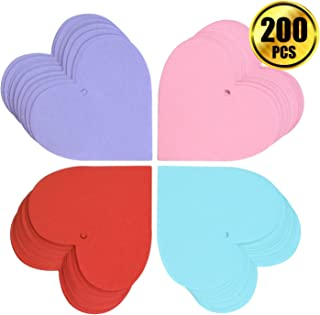 WXJ13 200 Pieces 2.75 Inch Heart Shape Paper Cutouts Valentine Heart Confetti Thin Blank Paper Tags for Valentine's Day Party Wedding Decorations (Multicolored)