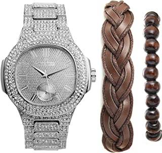 Ice'd Out Oblong Most Popular Mens Silver Watch Accessorized w/Fashionable Versatile Bracelets - Fabric Braided Bracelet & Wooden Beaded Bracelet - Perfect Touch for the Best Dressed Man - 8475BBSlBrw