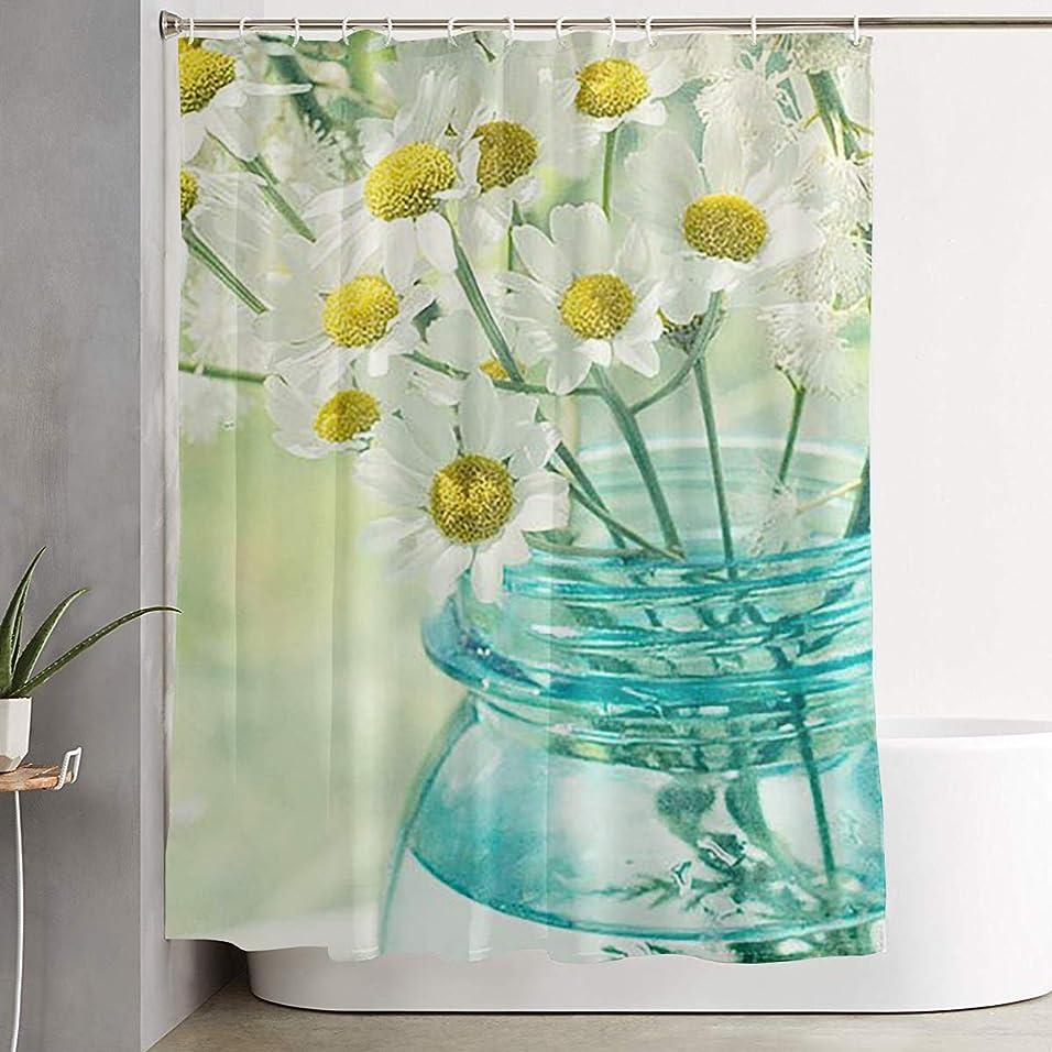巨大デッドロック酸っぱい花 菊の花 白い シャワーカーテン 浴室カーテン バスカーテン お風呂カーテン リング付属 目隠し バスルーム シャワー 速乾性 撥水加工 リングランナー付き