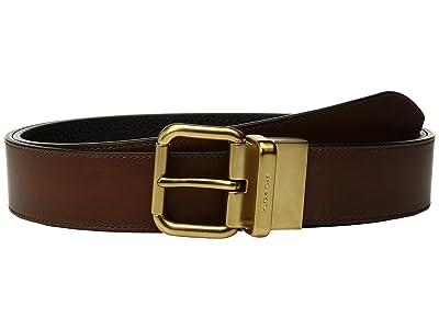 COACH Jeans Reversible Belt (Dark Saddle/Black) Men