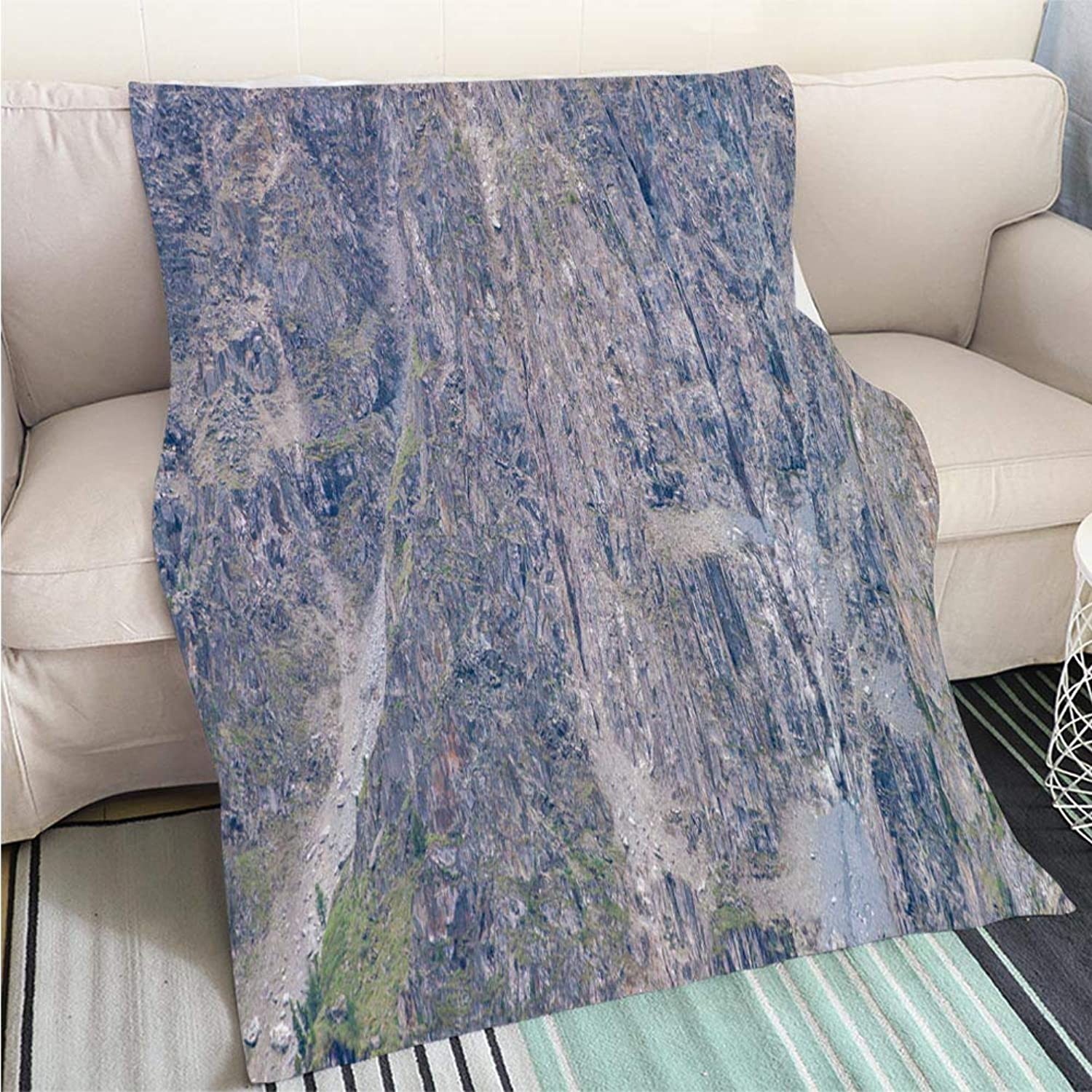 Breathable Flannel Warm Weighted Blanket Mountainside Background with Trees Detailed Texture of steep Rocky Slope Close up Giant Rock Majestic Nature Perfect for Couch Sofa or Bed Cool Quilt