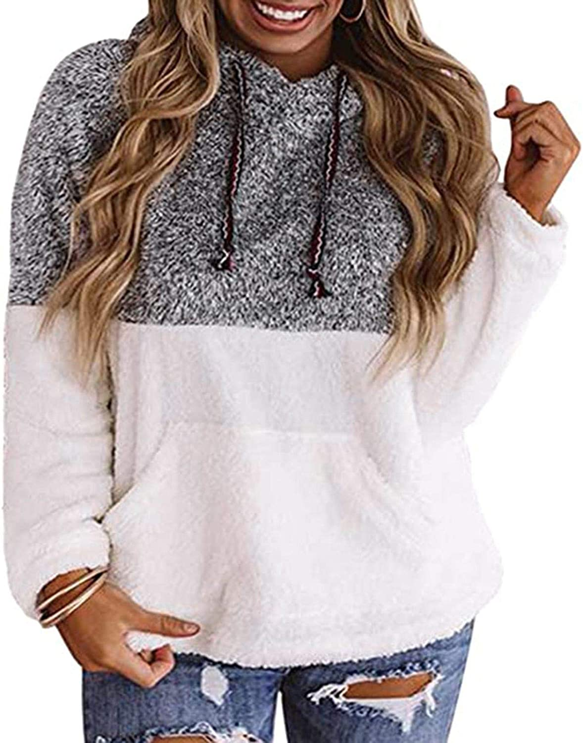 Women Casual Loose Hooded Patchwork Color Block Fleece Long Sleeves with Pocket Pullover Blouse Tops Sweatshirts