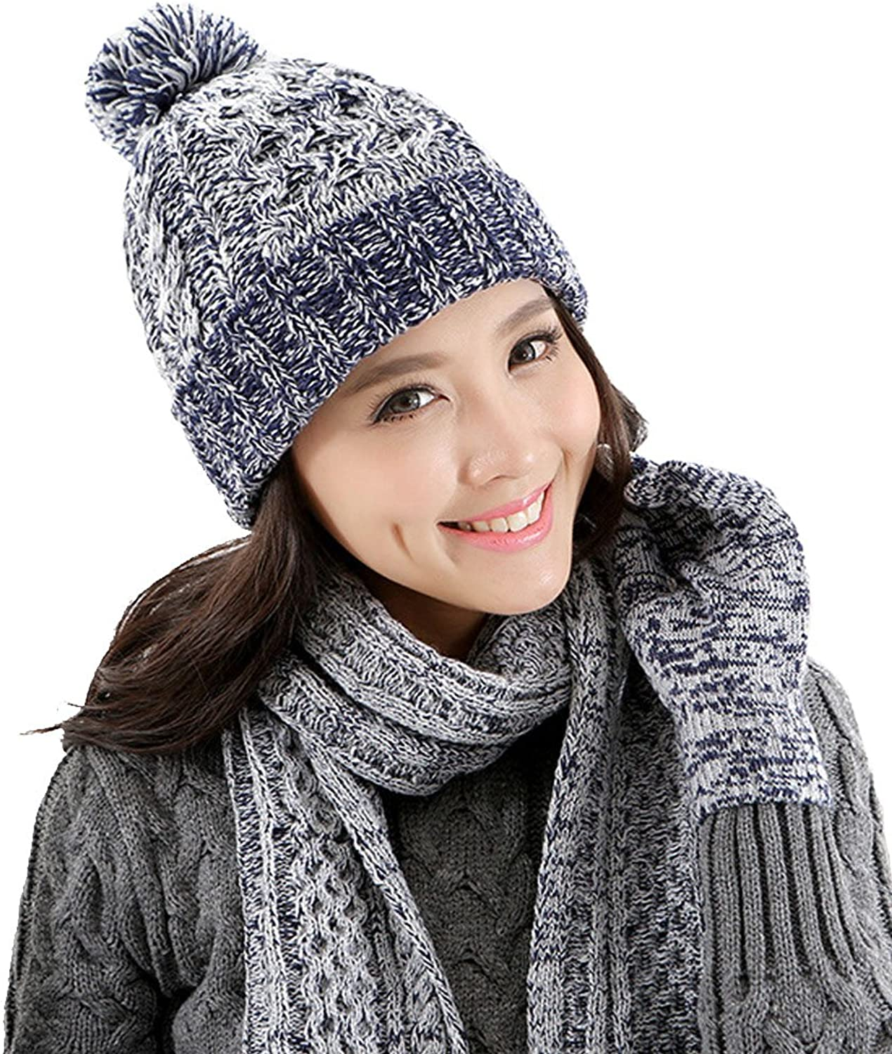 Kmover Women's 3Pieces Slouchy Beanie Winter Warm Knit Hat Cap set Christmas Gift