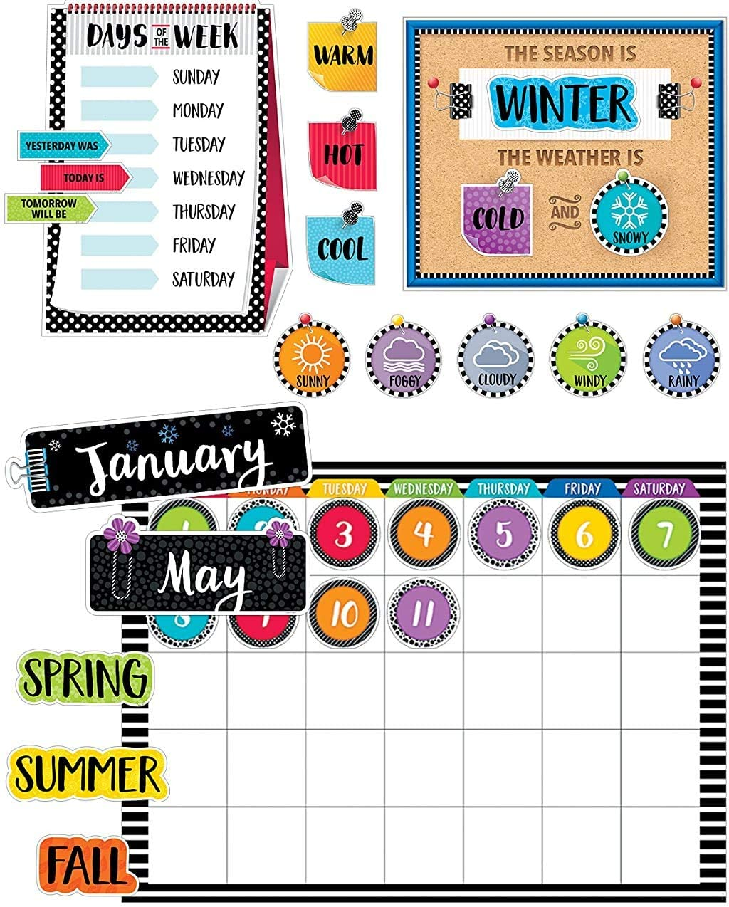 Amazon Com Classroom Jobs Chart Set For Bulletin Boards Chalkboard Design 66 Pieces Office Products
