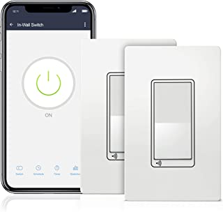 TOPGREENER Smart Light Switch, UL Listed, Neutral Wire Required, Single Pole or 3-Way, No Hub Required, Works with Amazon Alexa and Google Assistant, TGWF15S, 2 Pack