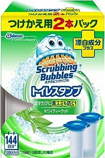 スクラビングバブル トイレ洗浄剤 トイレスタンプ 漂白成分プラス ホワイティーウッドの香り 付替用(2本入り×1箱) 12スタンプ分
