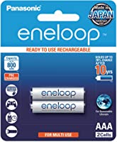 Panasonic AAA Ready-to-Use Ni-MH Rechargeable Batteries, 2-Pack (BK-4MCCE/2BA)