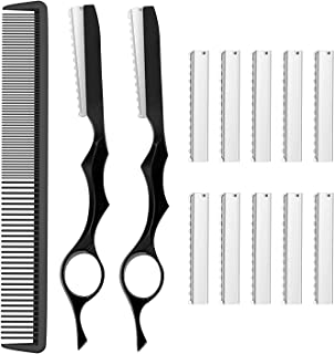 13 Pieces Hair Styling Thinning Razor Set, 2 Pieces Cutting Texturizing T Razors and 10 Pieces Replacement Blades and 1 Pi...