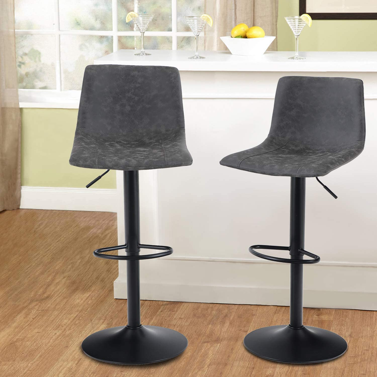 MAISON ARTS Swivel Bar Stools Set of 2 for Kitchen Counter Adjustable Counter Height Bar Chairs with Back Tall Barstools PU Leather Kitchen Island Stools, 300 LBS Bear Capacity, Grey: Kitchen & Dining