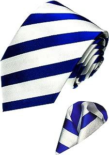 Lorenzo Cana - Marken 2 er Set aus 100% Seide - Streifen Krawatte mit Einstecktuch Weiß Blau - 8418301