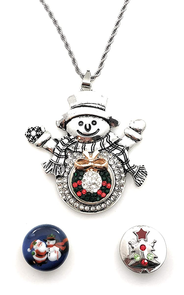 Snap Charm Christmas Snowman Large Pendant Three Snaps Shown Chain