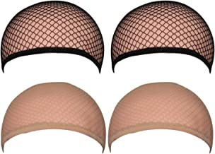4 Pack Wig Caps for Women Men One-Size Halloween Costume Cosplay (Neutral Nude Beige and Black Mesh)