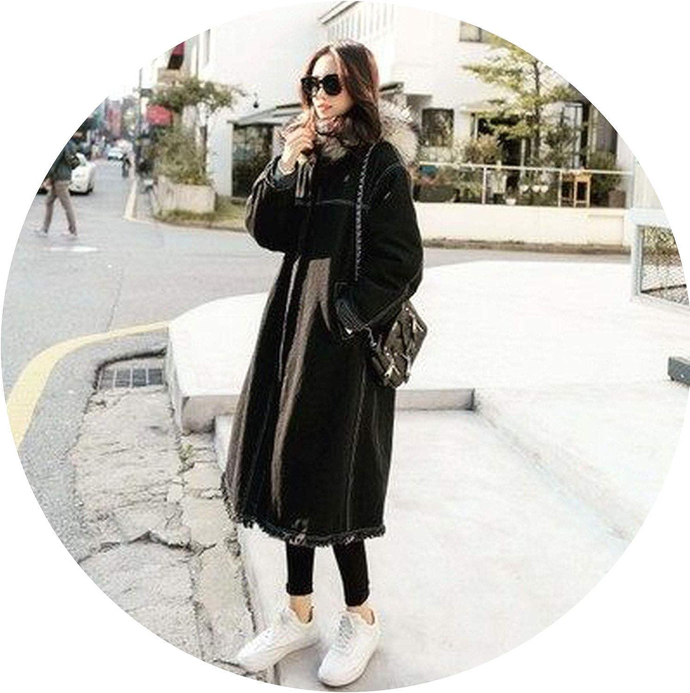 Big Fur Collar Denim Women Long Section Loose Lamb Cashmere Hooded Cotton Coat