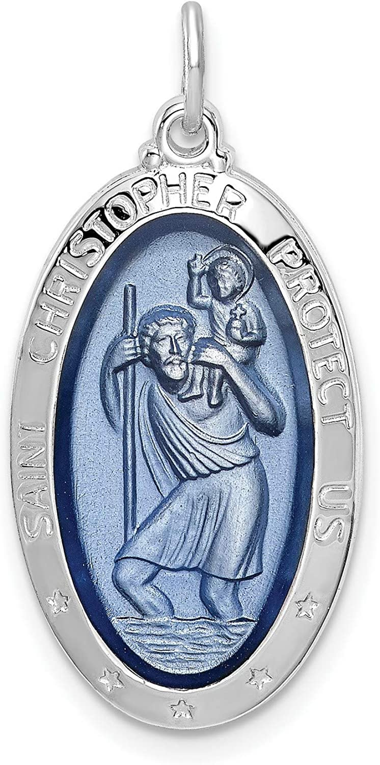 Blue Oval Saint Christopher Austin Mall Protect Us Words Excellence In Sterli 925 Charm