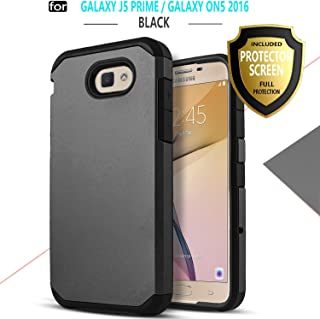 Galaxy J5 Prime Case, Galaxy On 5 (2016 Version) Case, Starshop [Shock Absorption] Dual Layers Impact Advanced Protective Cover with [Premium HD Screen Protector Included] (Black)